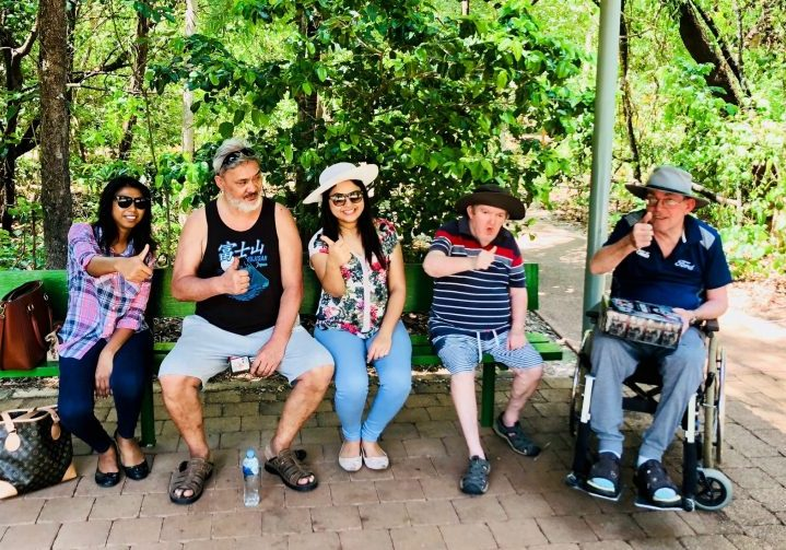 Clients and staff enjoy an outing to the Territory Wildlife Park
