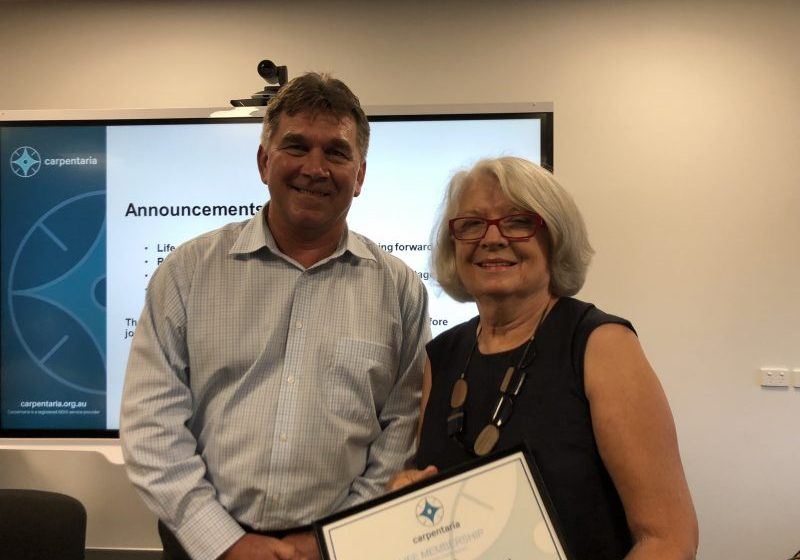 Carpentaria Life Member Sue Bradley with Chairperson Peter Stewart