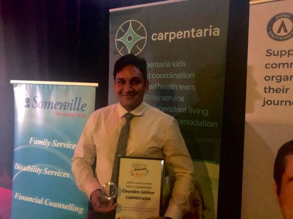 Chandra Jakhar wins an award at the 2018 NT Disability Services and Inclusion Awards